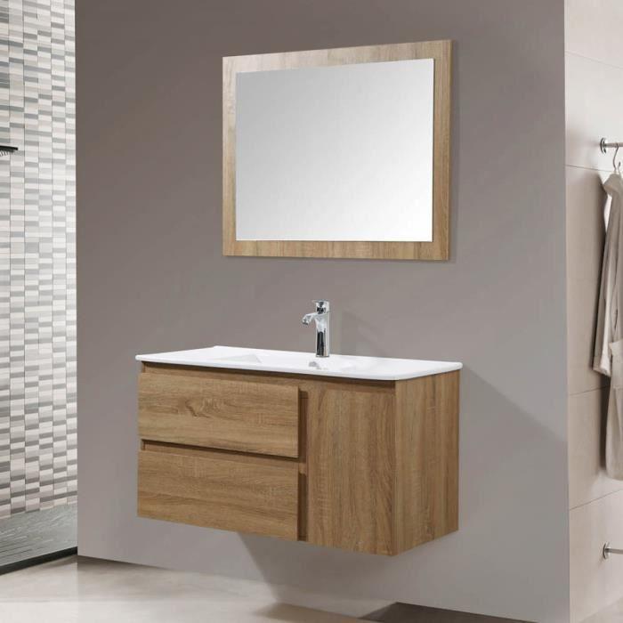 Le Danube couleur bois : Ensemble de salle de bain : 1 meuble sous-vasque,  1 vasque, 1 miroir