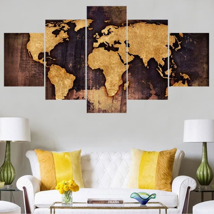 5 pi ces unframed world map toile d coration murale salon for Decoration murale toile