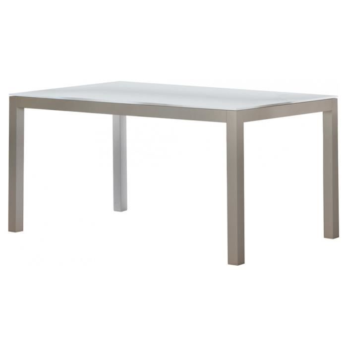 Table rectangulaire aluminium blanc plateau verre blanc for Table a manger rectangulaire