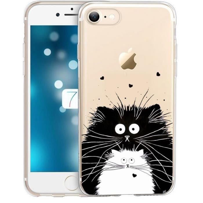 iphone 8 plus coque transparente avec chat