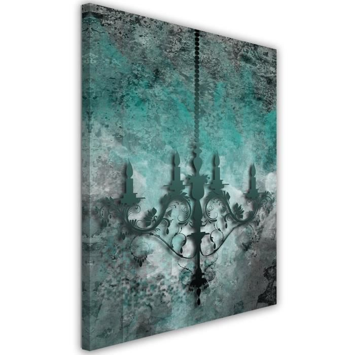 tableau d co mural impression sur toile 40x60 abstraction lustre vert turquoise gris noir. Black Bedroom Furniture Sets. Home Design Ideas