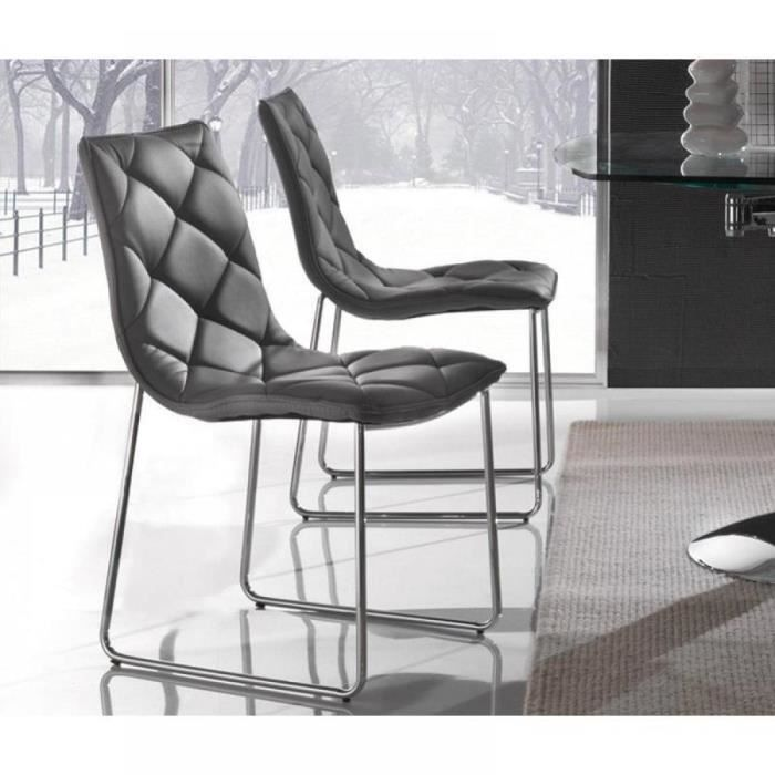 lot de 2 chaises giada en simili cuir gris titane. Black Bedroom Furniture Sets. Home Design Ideas