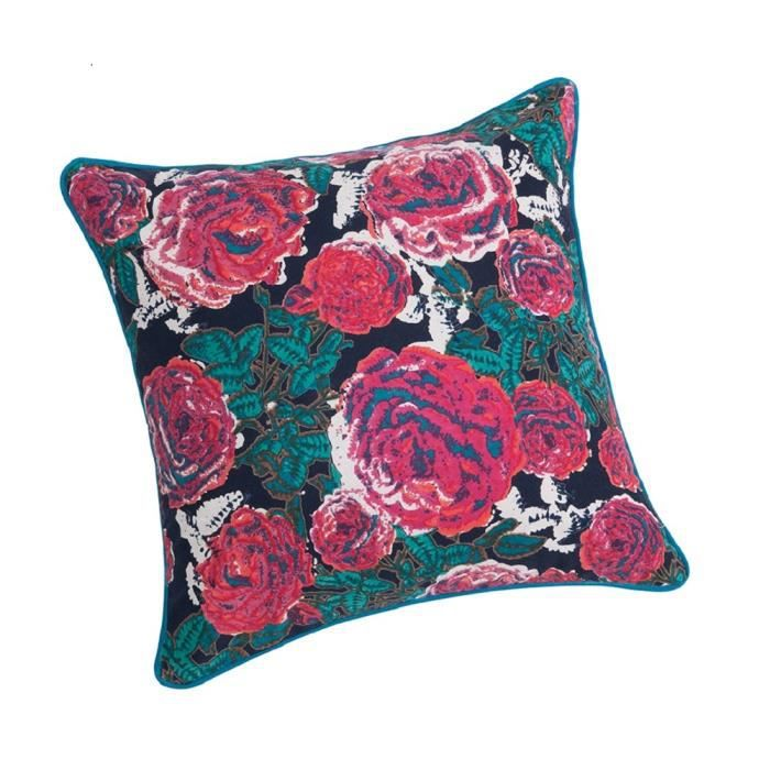Housse de coussin velours biprint rosea midnight 40x40cm for Housse coussin velours