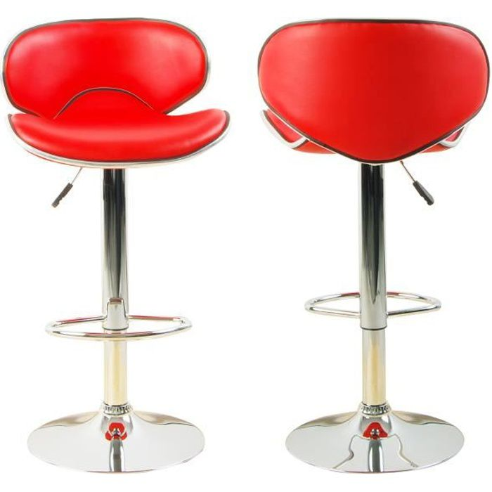 Lot de 2 tabourets de bar ilot central cuisine bistrot for Tabouret de cuisine rouge