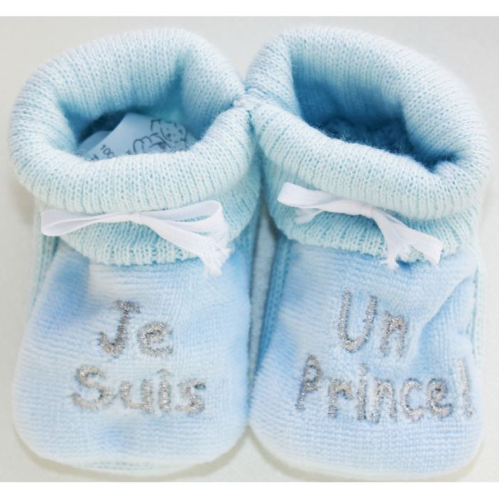 chaussons b b brod s je suis u bleu argent bleu argent achat vente chausson pantoufle. Black Bedroom Furniture Sets. Home Design Ideas