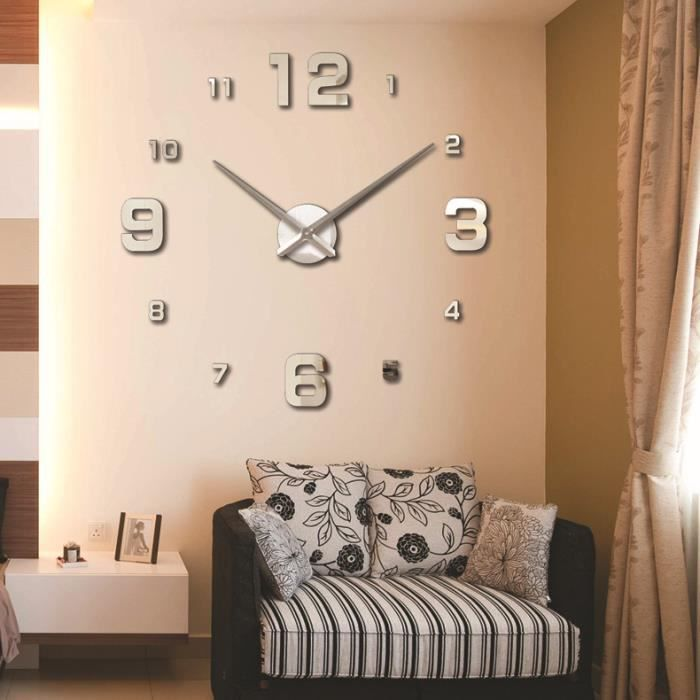 ocathnon diy horloge murale design pendule murale adh sif sticker miroir mural pour d coration. Black Bedroom Furniture Sets. Home Design Ideas
