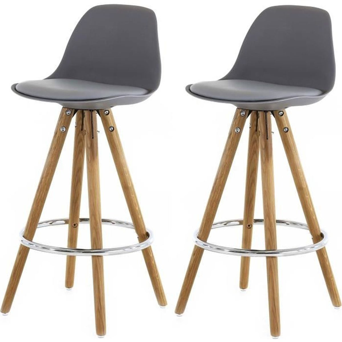 lot de 2 tabourets de bar scandinave gris uma achat vente tabouret de bar soldes d hiver. Black Bedroom Furniture Sets. Home Design Ideas