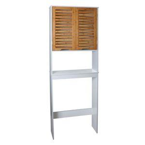 COLONNE - ARMOIRE WC LINDA Armoire WC L 63 cm - Blanc mat et décor bois