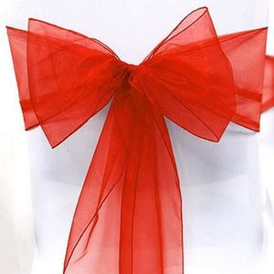 TULLE - NOEUD - RUBAN 10 Noeuds de Chaise Mariage Organza Rouge