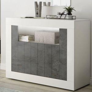 BUFFET - BAHUT  Petit bahut 110 cm blanc effet béton gris foncé mo