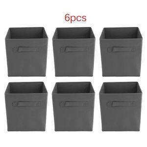BOITE DE RANGEMENT 6Pcs Tiroir Cube Boîte de Rangement En Tissu Gris