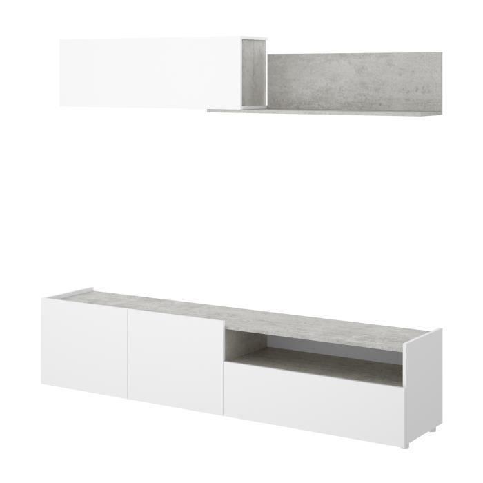 Meuble TV - Classique - Panneaux de particules revêtement mélaminé - Décor blanc béton - L 200 x P 41 x H 180 cm - KLOE
