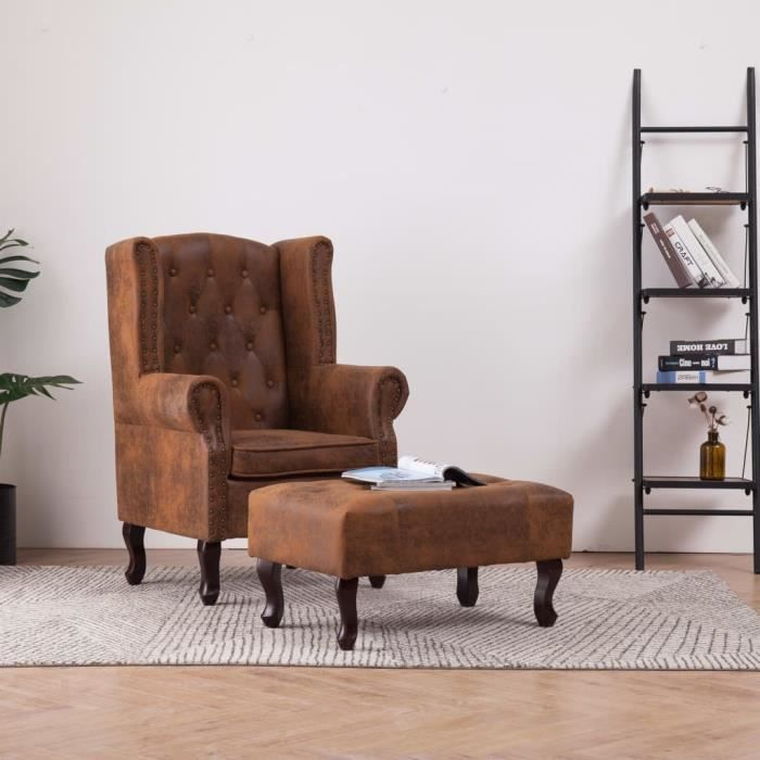 Fauteuil Chesterfield Vintage grand confort dossier assise avec repose-pieds -YNF