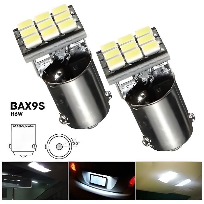 Ampoule H6W BAX9S LED Veilleuse Blanc pour Citroen C4 Grand Picasso I C5
