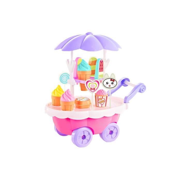Simulation Jouet Chariot De Crème Glacée De Bonbons Pour Les Enfants Filles Tout-petits