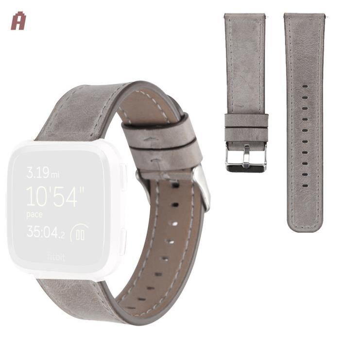 bracelet de montre vendu seul Pour Fitbit Versa Slim Premium Bracelet en cuir de remplacement pour femmes Hommes LZY90517101A_non