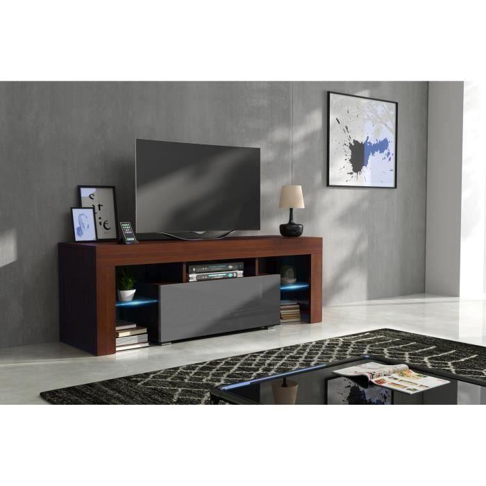 Meuble tv 130 cm noyer mat et gris laqué + led RGB