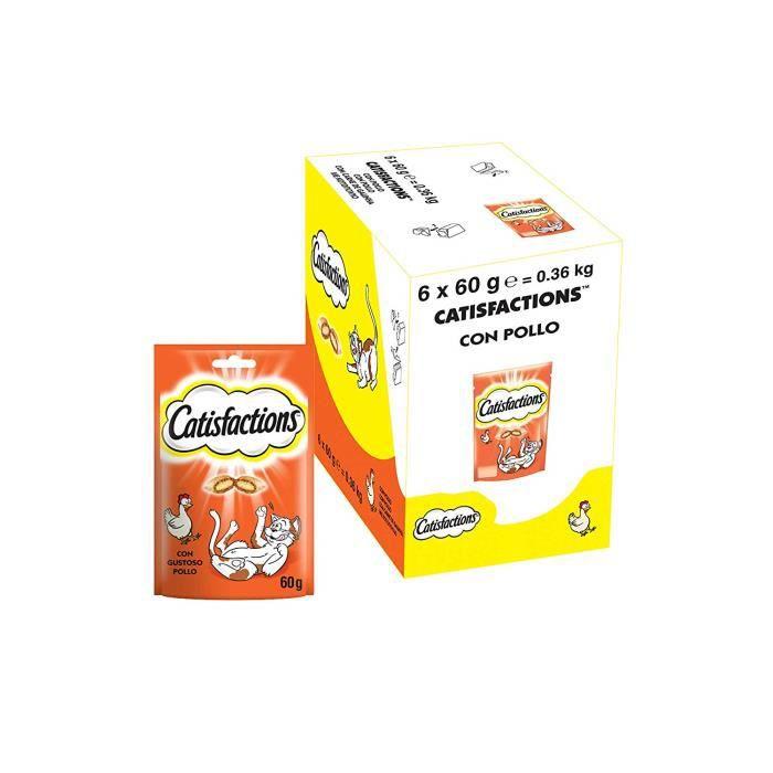 CATISFACTIONS Friandises au Poulet pour Chat et Chaton, 6 Sachets de 60g