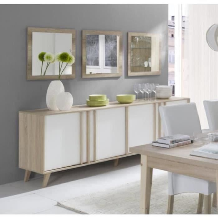 PRICE FACTORY - Buffet, enfilade, bahut GM MALMO + 3 miroirs. Meuble design type SCANDINAVE. Effet ultra tendance pour votre salon