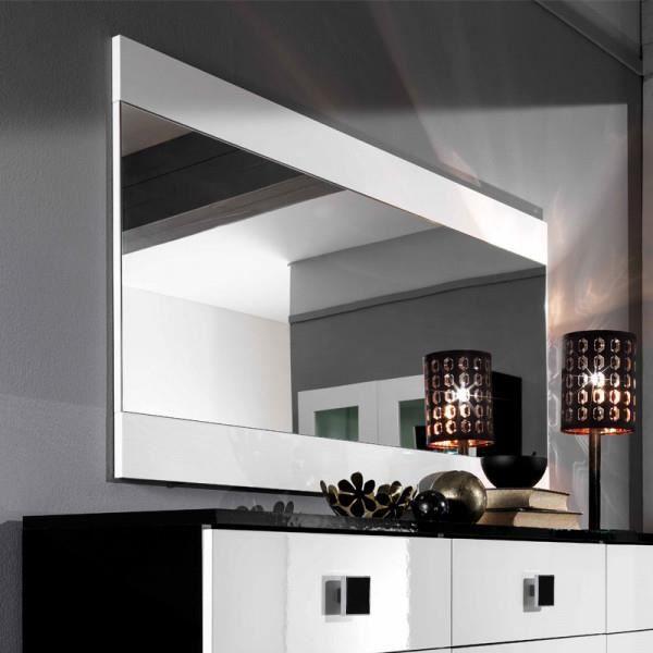 Miroir rectangulaire Blanc laqué - ZEME - Blanc - Bois - L 150 x l 2 x H 81 cm - Miroir