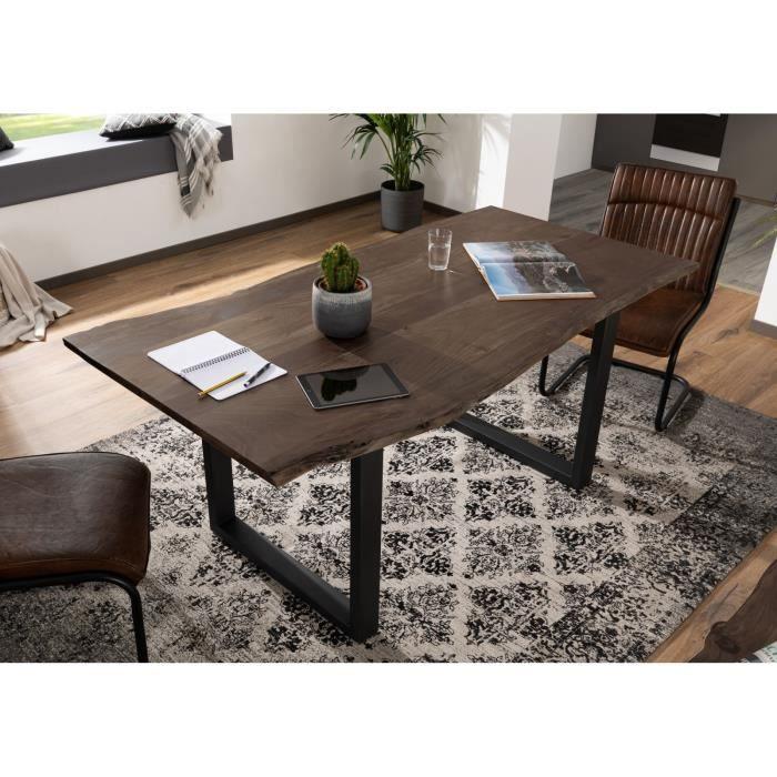 Table à manger 220x100cm - Bois massif d'acacia laqué (Dark grey/Bois taupe) - Design moderne naturel - FREEFORM 3