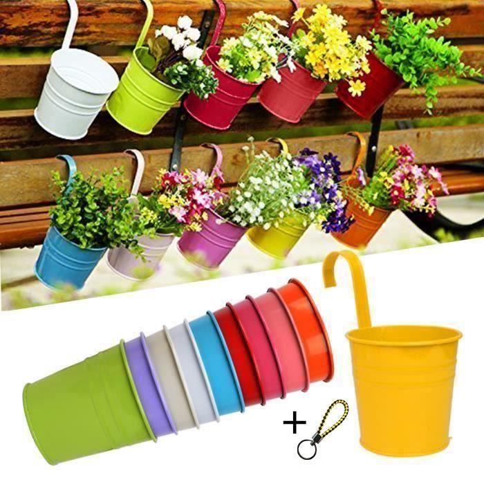 LOT 10pcs Pots de Fleurs Exterieur à Accrocher Colorés Amovible Décoration Jardin Maison Balcon Cadeau Noël Anniversaire Fête