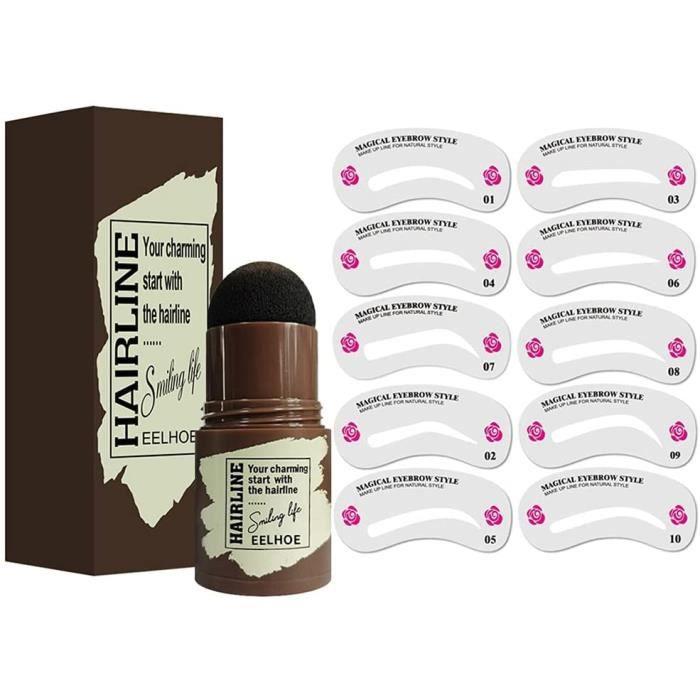 Ensemble de kit de mise en forme de tampon à sourcils maquillage professionnel de tampon de poudre à sourcils avec 10 pochoir 1024