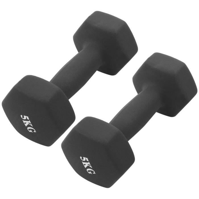 YUYJP Haltères hexagonales 2Pcs x 5kg Entraînement De Gym À Domicile Haltères Haltérophilie noir