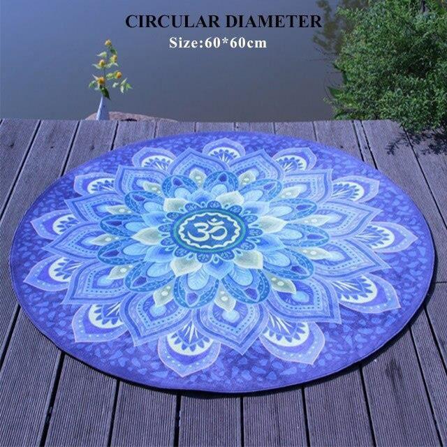 Tapis de sol,Tapis rond d'exercice de Yoga, tapis de méditation de 60 – 90 125cm de diamètre, antidérapant, coussin - Type A60x60cm