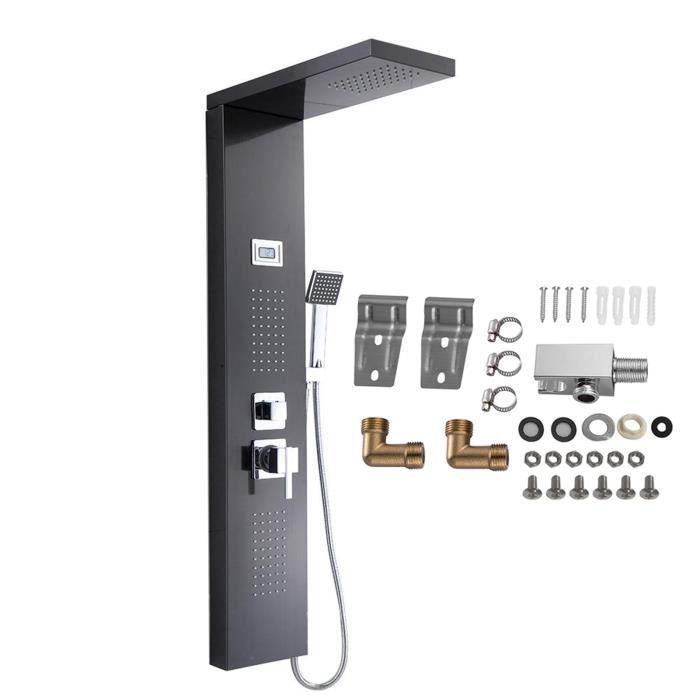 Ollowshop® Panneau Douche Thermostatique Colonne Hydromassante Ecran Affichage LCD Ensemble Douche Mur en Acier Inoxydable HB069