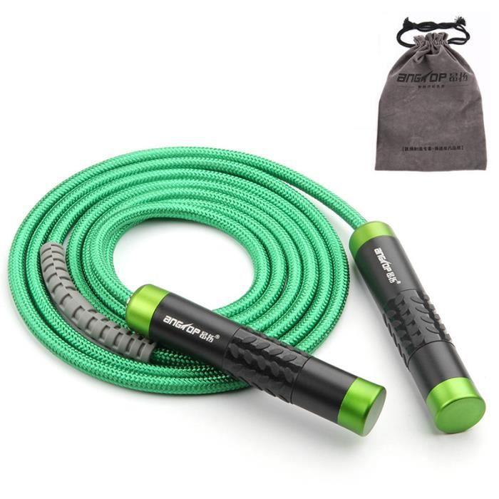 Corde à Sauter Réglable Haute Performance Coton Corde à Sauter pour Fitness Roulement Intégré -639 Vert
