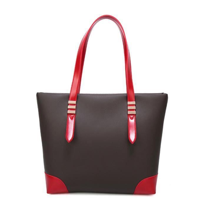 Sac à Bandoulière Femme Grande capacité Sac à Main Simple Mode Sac Messenger Trapézoïdale PU Couture - Rouge