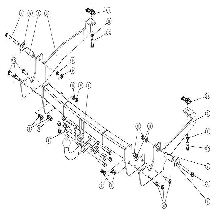 Attelage Citroen Jumpy (03/07-) sans radars de recul Col de cygne + faisceau universel 7 broches + boitier électronique