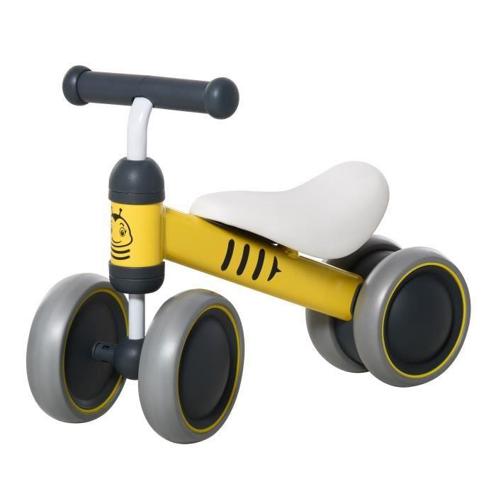 Draisienne vélo enfant design abeille 4 roues selle guidon ergonomique métal PP jaune 49x19x35cm Jaune