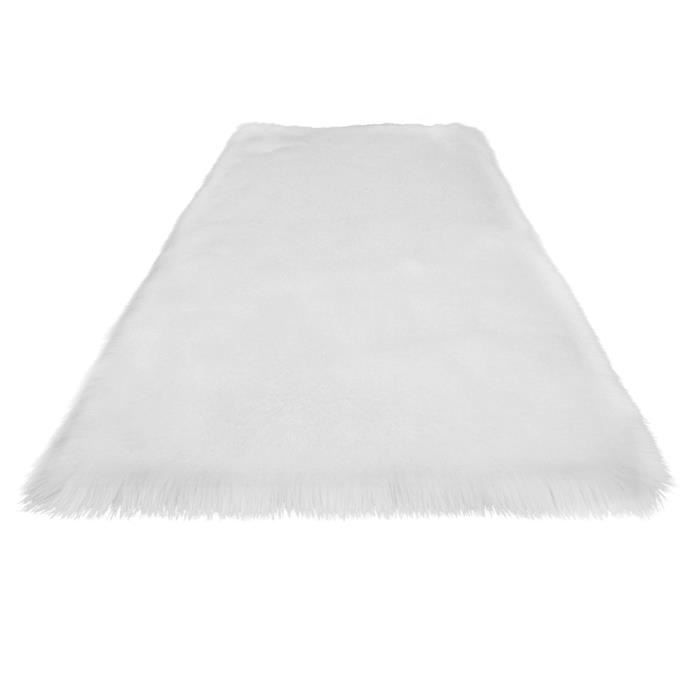 Tapis de sol moelleux en fausse fourrure super doux pour canapé de chevet de salon(Blanc)100*70cm