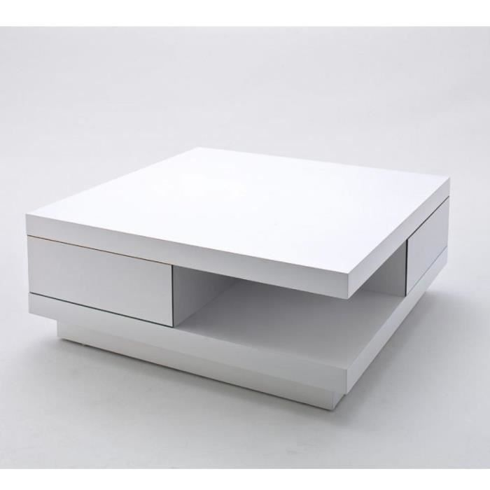 Table Basse carrée ALBI finition laquée blanc brillant 2 tiroirs blanc Bois Inside75