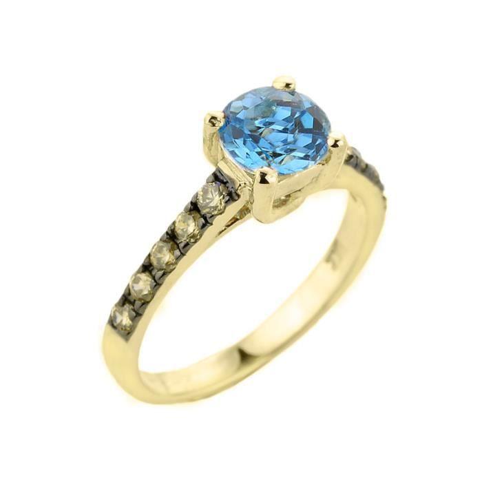 Bague Femme 10 ct Or Jaune 471/1000 Bleu Topaze et Diamant Solitaire