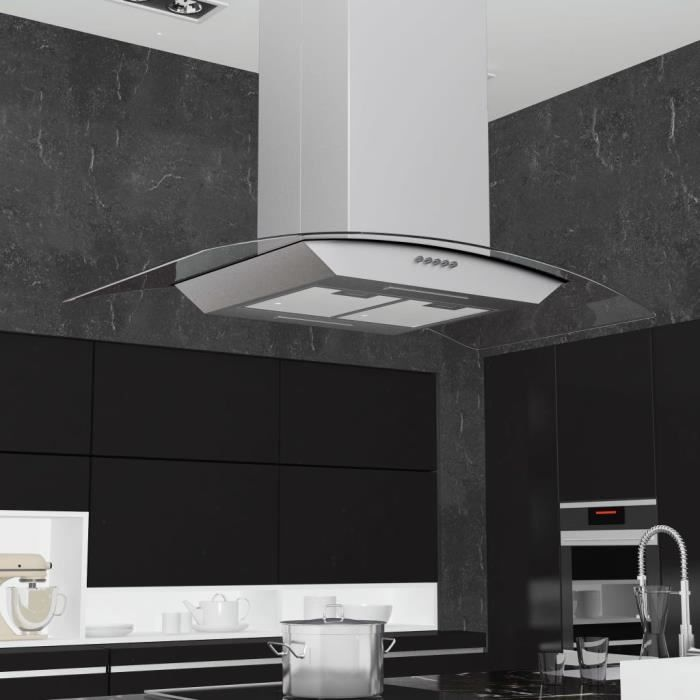 Hotte îlot 90 cm Hotte aspirante de cuisine Acier inoxydable pour ilot ultra moderne Avec des lumières 756 m³/h LED Argenté