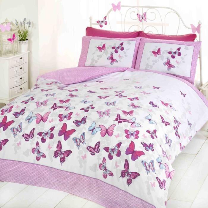 Papillon Flutter Double housse de couette et taie d'oreiller - Rose
