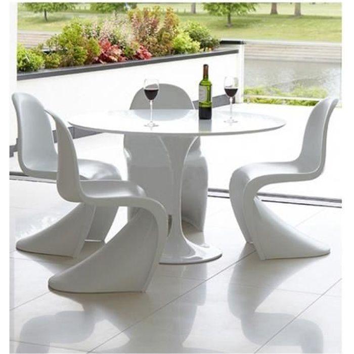 Table de repas fixe ronde laquée Blanche TULIPE 90 cm
