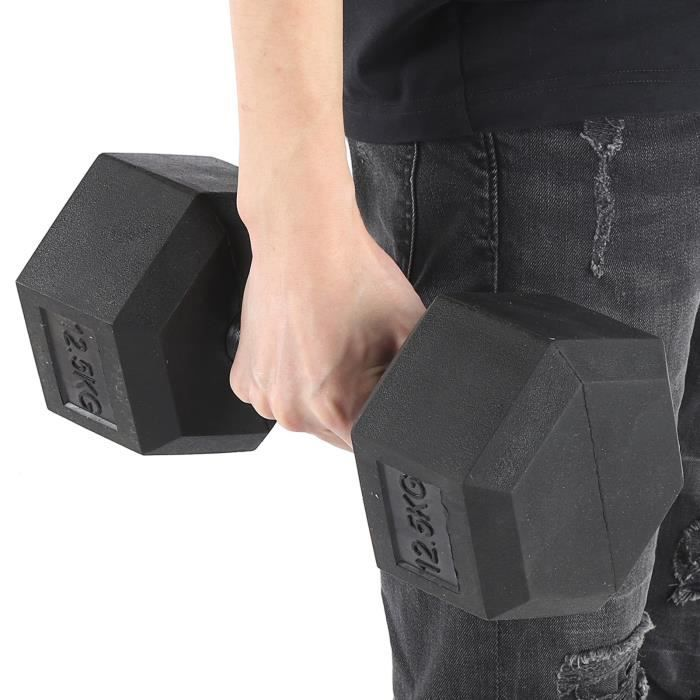 12,5 kg en caoutchouc hexagone exercice haltère gymnase à domicile entraînement équipement de remise en forme sans défilement-GUA