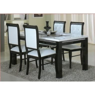 table salle manger blanche noire accueil design et mobilier. Black Bedroom Furniture Sets. Home Design Ideas