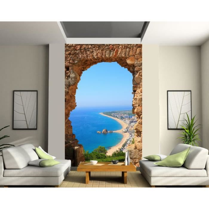 papier peint trompe l oeil vue sur mer dimension 1 40x2 20 m achat vente papier peint. Black Bedroom Furniture Sets. Home Design Ideas