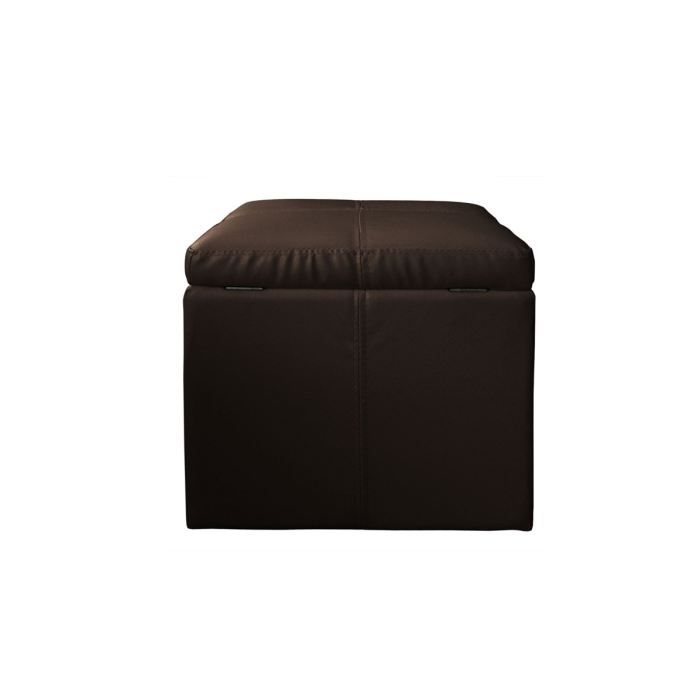 pouf coffre cuir marron fonc cube achat vente pouf poire mati re du rev tement simili. Black Bedroom Furniture Sets. Home Design Ideas