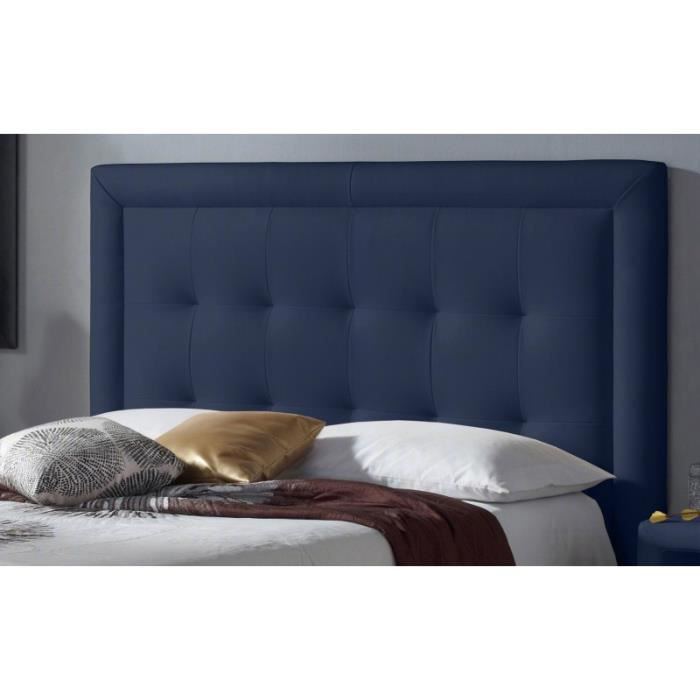 t te de lit pu square couleur bleu mesure lit de 120 cm de large achat vente t te de. Black Bedroom Furniture Sets. Home Design Ideas