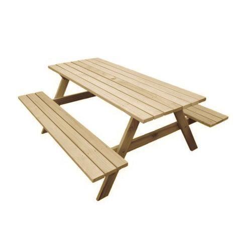 Table de jardin vendue seule Table de Picnic en Bois Gardiun 160x148x70 cm  e: 35 mm