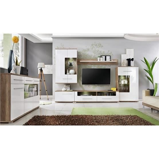 meuble tv design mural laas bois clair et blanc. Black Bedroom Furniture Sets. Home Design Ideas