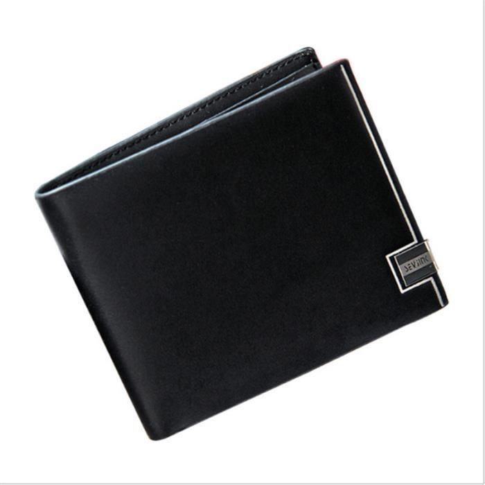 Hommes Haute Qualité Luxe Souple Portefeuille Cuir Noir Porte-Monnaie