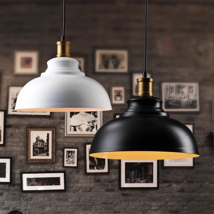 Lili house lustre suspension r tro style plafonnier avec grand abat jour m ta - Grand lustre industriel ...
