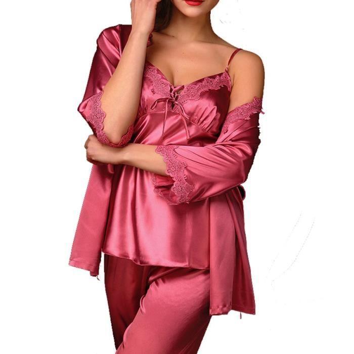 Rouge Pyjama Nuisette Deshabille Femme 3 Piece Haut Sexy Bustier